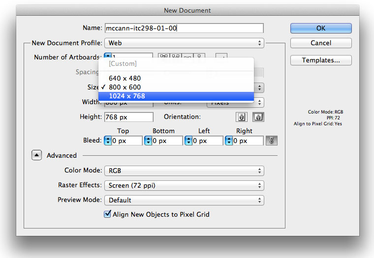 ITC298 AI New Document Dialog Box